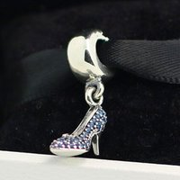 Wholesale Cinderella Glass Slipper Necklace - 925 Sterling Silver Cinderella Sparkling Slipper Dangle Charm Bead Fits European Pandora Jewelry Bracelets Necklaces & Pendants