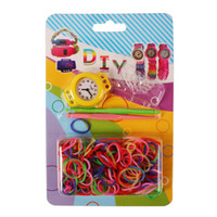 Wholesale loom rubber band kits - 100-DHL Newest DIY Knitting Braided loom Rainbow Loom Rubber Bands Kits Silicone Watch Bracelet DIY Loom Watch Watch Bands Clips Hoo