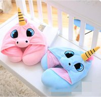 Wholesale Travel Sleep Support - 2 Color 30*23cm Unicorn U Shaped Pillow With Cap Massage Cartoon Pillow Travelling Pillows Office Nap Neck Support Rest CCA8333 50pcs