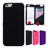Wholesale Leather Flip Hard Case Iphone - For iPhone 7 8 Plus Mirror Flip Leather Wallet Hard Phone Case Cover with Card Slot Holder Money Pocket for iPhone 6 6Plus