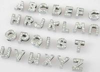 alphabet letters rhinestones venda por atacado-Atacado 10mm 130 pçs / lote A-Z cheio de strass letras de slides DIY Alfabeto Charme Acessórios apto para 10mm pet collar chaveiros