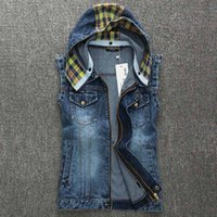Wholesale Men Vest Jacket Hood - Fall-2015 New Summer&Autumn Cool Mens Denim Vest With Hood Casual Sleeveless Jackets Jeans Blue Chaleco Hombre Moda Moto Gilet Homme