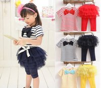 Wholesale Girls Bow Leggings Blue - 2015 Summer Fashion Girl Striped Bow short sleeve T shirts+Lace TuTu Leggings Girl 2 piece suit kids clothing C001