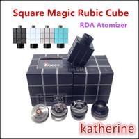 Wholesale Square Rubik - 2015 Rubik Cube RDA Atomizer Airflow Control Rubik RDA Mod Square Magic Cube Tank Rebuildable E Cig Atomizer Vaporizer Rubik Cube 11 Colors