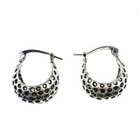 Al por mayor-Cute Leopard Ball Tibetan Silver Color Small Hoop Earrings Fashion Vintage Jewelry para mujeres