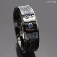 Wholesale Tungsten Blue Carbon - Wholesale-Black and blue Carbon Fiber Tungsten Ring Blue Mens jewelry Wedding Band Free Shipping