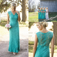 Wholesale Emerald Floor Length Bridesmaids Dresses - 2016 Emerald Green V-neck Mermaid Lace Long Bridesmaid Dresses Country Style Elegant Sexy Elegant Vestio Formal Maid of the Honor Dresses