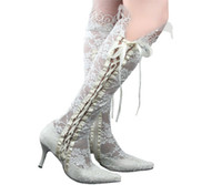 8cm gelin topukları toptan satış-Moda Sivri Burun 8 cm Yüksek Topuklar Sheer Beyaz Dantel Güzellik Balo Akşam Parti Elbise Kadınlar Lady Gelin Düğün Çizmeler Ayakkabı