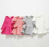 ingrosso vestiti di rosa fucsia delle ragazze-2015 Abiti di moda Solid Girls Dress Princess Leisure Abbigliamento di base senza maniche Bambini Vestiti per bambini Pink White Fuchsia Grigio K5009