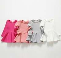 Wholesale 2015 Fashion Dresses Solid Girls Dress Princess Leisure Basic Wear Sleeveless Children Kids Dress Clothes Pink White Fuchsia Grey K5009