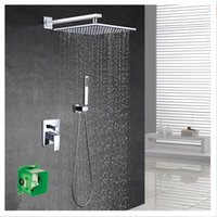 """Wholesale Thermostatic Valve Free Shipping - 2016 New Pattern Free Shipping wall mounted Shower Set With 8"""" abs plastic Rain Shower brass hand shower Embedded box set hanldes valve"""