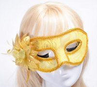 Wholesale transparent dresses for women - a8 Dressing Gown Mask Grapes Onion Cloth Flower Feather Feathers Semi-transparent Lace Side Belt Flower Halloween Mask