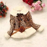 Wholesale Girls Faux Leopard Coat - 2015 new Girls Leopard faux fox fur collar ribbon coat clothing with belt Autumn Winter wear Clothes baby Children outerwear dress jacke