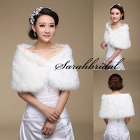 Wholesale Bridal Red Fur Shrug - 2016 New Cheap Bridal Thick Wraps White Ivory Long Faux Fur Shrug Cape Bridal Wraps Wedding Special Occasion Shawl