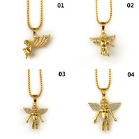 Wholesale micro angels - New 18K Gold Plated Boy Angel & Girl Angels Pendant Micro Angel Piece Necklace For Men Women Hip Hop Charm jewelry Free Shipping