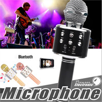 Wholesale music speaker for tablet resale online - WS858 Bluetooth wireless Microphone HIFI Speaker Condenser Magic Karaoke Player MIC Speaker Record Music For Iphone Android Tablets PC