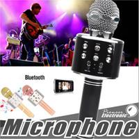 microfone mágico venda por atacado-WS858 Microfone Sem Fio Bluetooth Speaker HIFI Condensador Mágico Karaoke Player MIC Speaker Music Record Para Iphone Android Tablets PC
