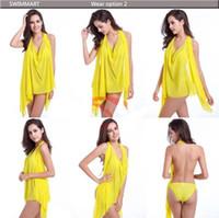 Wholesale Dresses Sirens - New sexy changed beach dress bikini three-piece high elastic gauze siren magic tees holiday dress more swimsuit summer EMS 60pcs