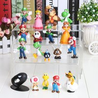 "Wholesale Super Mario Brothers Plush - Wholesale-Wholesale 18PCS Super Mario Bros 1-2.5"" Figure Toy Doll Super Mario Brothers Fun Collectible PVC figures Super mario Figure"