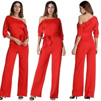 Wholesale Cheap Overalls For Women - cheap red jumpsuit for women onepiece long pants party romper with belt for teens sexy high waisted overall wide leg jumpsuits