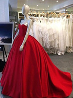 Wholesale puffed balls for sale - Group buy Elegant Sweet heart Ball Gowns Quinceanera Dresses Lace Up Red Satin Vestidos De Anos Sweet Prom Gowns Puff