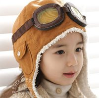 Wholesale Toddler Fashion Hats - High quality Fashion StyleNew Cute Baby Toddler Boy Girl Kids Pilot Aviator Cap Warm Hats Earflap Beanie Ear muff cap air force cap Warm