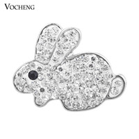 Wholesale Rabbit Colors - Vocheng Noosa 18mm Lovely Rabbit Crystal Snap Button 2 Colors Ginger Snap Jewelry (Vn-874)