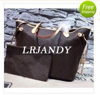 Wholesale Retro Shops - Genuine Leather Brand new Top quality women shoulder bags Large tote shopping handbag tote satchel Retro purse(#40996)3 color 2 Size pick