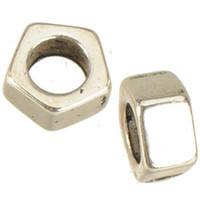 ingrosso materiali per braccialetti di perline-charms braccialetto perline europeo fai da te 5mm grande foro artigianato materiale pentagon dado vite blank lega gioielli accessori moda 8x4mm 300 pz