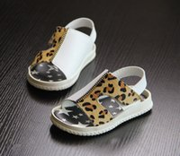 Wholesale Toddler Leopard Sandals - Wholesale-Free Shipping Genuine Leather Children's Sandals Kid's Leopard Print Summer Shoes For Toddlers of 1~7 Years Old