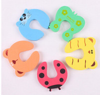 Wholesale Baby Finger Door Stoppers - Cute Baby Door Stopper Safety Finger Pinch Guard Protector Baby safety gate card Animal model