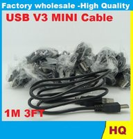 Wholesale Mini Usb Pin 1m - High Quality 1m USB 2.0 A TO MINI B 5-PIN 5 pin V3 USB cable for mp3 Mp4 Data Charger Cable adapter DHL FEDEX FREE SHIPPING