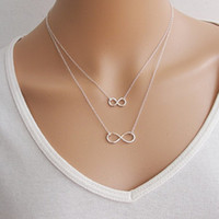 Wholesale Lucky Number Necklace - trade simple handmade necklace lucky number eight double short necklace C137