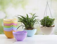Wholesale Wholesale Hanging Plant Baskets - Colorful Plastic flower pot with chains sky planter hanging bonsai home garden decoration hanging baskets