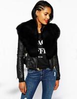 Wholesale leather mink coats women - New Women Faux Fur Shawl Biker Jacket Long Sleeve Zip Womens Ladies Leather Coat Jackets Short Mink Coats Winter Black Parka Coats Overcoat