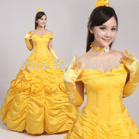 Wholesale Costumes Party Fantasy - Wholesale-Free shipping princess belle costume beauty and the beast cosplay fantasy halloween costumes for women party dress gift gloves