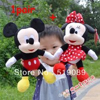 Wholesale Cloth Mouse - Free Shipping 28cm 1pairs Lovely Mickey Mouse And Minnie mouse plush Animal Toys,Mickey And Minnie plush dolls ,Christmas Gifts