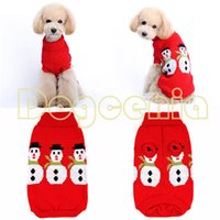 Wholesale Dog Products Christmas - Wholesale-Christmas Snowman Design for Pet Products Dog Clothes Winter Sweater Free Shipping
