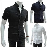 Wholesale Unique Mens Shorts - Spring Summer Mens Short Sleeved Dress Shirts Unique placket Houndstooth fine grid Spell color Slim Fit Casual Shirts