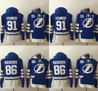 Wholesale Mens Winter Sweatshirts - Mens Tampa Bay Lightning Hoodies Hockey Jersey 86 Nikita Kucherov 91 Steven Stamkos Sweatshirts Winter Jacket Blue Free Shipping