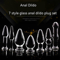 Wholesale Transparent Anal Beads - 7 Types Anal Dildo Set Anal Beads Sex Toy Adult Products Crystal Glass Transparent Calabash Shaped Anal Butt Plug Stimulate