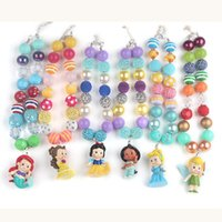 Wholesale Necklace Pendants For Kids - 6pcs set New Arrival Hot Sale Chunky Bubblegum Beads with People in Fairy Tales Pendant Necklace for Girls Kids