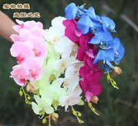 "Wholesale Wholesale Blue Orchids - 20pcs Popular white Phalaenopsis Butterfly Orchid flower 78cm 30.71"" Length 10Pcs lot 7 Colors Artificial Phalaenopsis for Wedding"