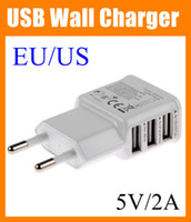 Wholesale S4 Dual Dock - 3 Ports USB AC usb Wall Charger 5V 2A EU US Plug Power Adapter dual micro USB cable for Iphone 4 4S 5 5S 6 Samsung Galaxy S4 S3 S5 CAB054