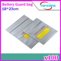 Wholesale Antenna Silver - 100pcs Silver RC LiPo Battery Safety Bag Safe Guard Charge Sack 180 X230 mm Free Shipping Wholesale ZY-BAJ-01