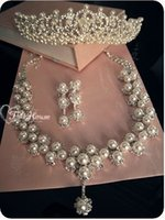 Wholesale Tiara Chain Set - Three-piece Wedding Accessories Piece of Bridal Jewelry and Pearls Sets diamond sets of chain