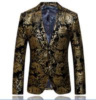verheiratete männer anzüge großhandel-2015 Herren Mäntel Herren Blazer Gold Blazer für Männer Anzug hochwertige Marken Herren Velours Verheiratet Anzug plus Blazer schlanker Mann Größe: M-XXXL # 618