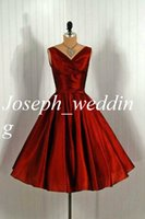 Wholesale Silver Taffeta Real - Modern Style Vintage Couture 2017 Red Prom Gowns Short Women Vestidos De Noiva Cocktail Dresses Fast Shipping