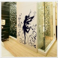 Wholesale Wisteria Flower Wall Stickers - Dancing girl Black Wisteria flower music wall decals Transparent PVC Removable Living Room wallart Sofa fairy wall stickers uk