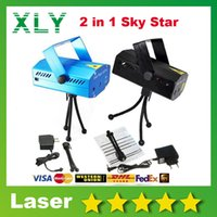 Compra Danza Del Cielo-600pcs / lot laser Disco Dance Floor Light Mini luci del palcoscenico 2 in 1 Sky Star 150mW GreenRed DJ Party LED Laser Stage Lighting